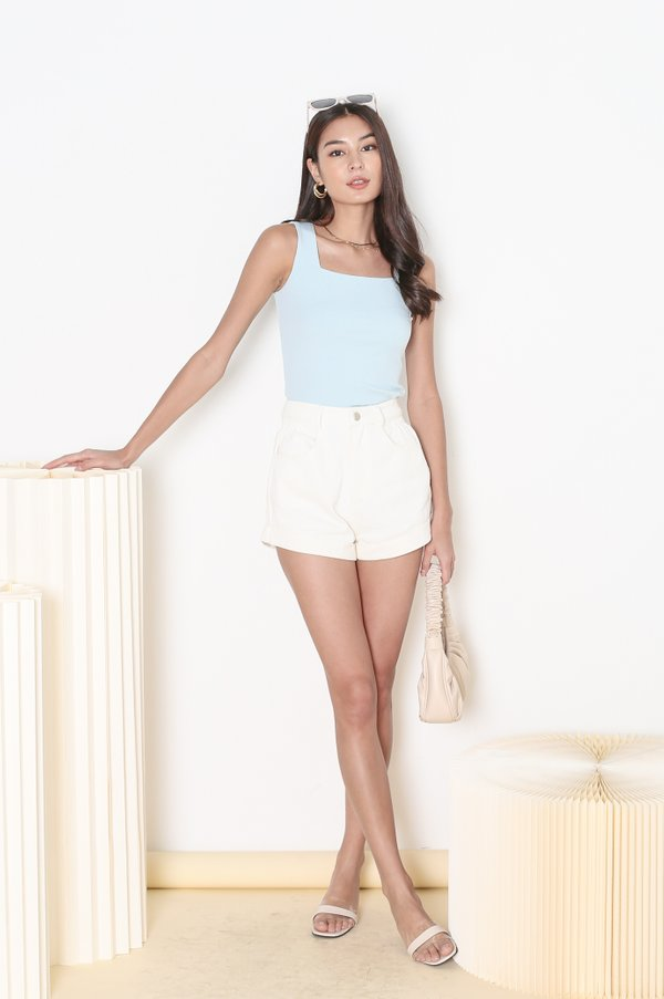 *TPZ* ALL DAY RIBBED BASIC TOP IN BABY BLUE  *WITH SCRUNCHIE*