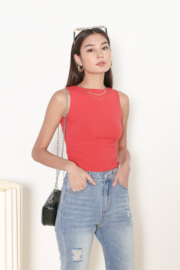 *TPZ* ALL DAY RIBBED BASIC TOP IN SUNRISE CORAL  *WITH SCRUNCHIE*