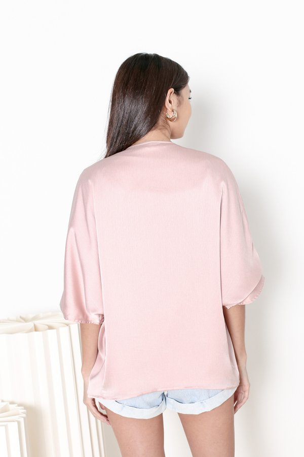 *TPZ* KAIA REVERSIBLE KIMONO IN CRYSTAL PINK *WITH SCRUNCHIE*