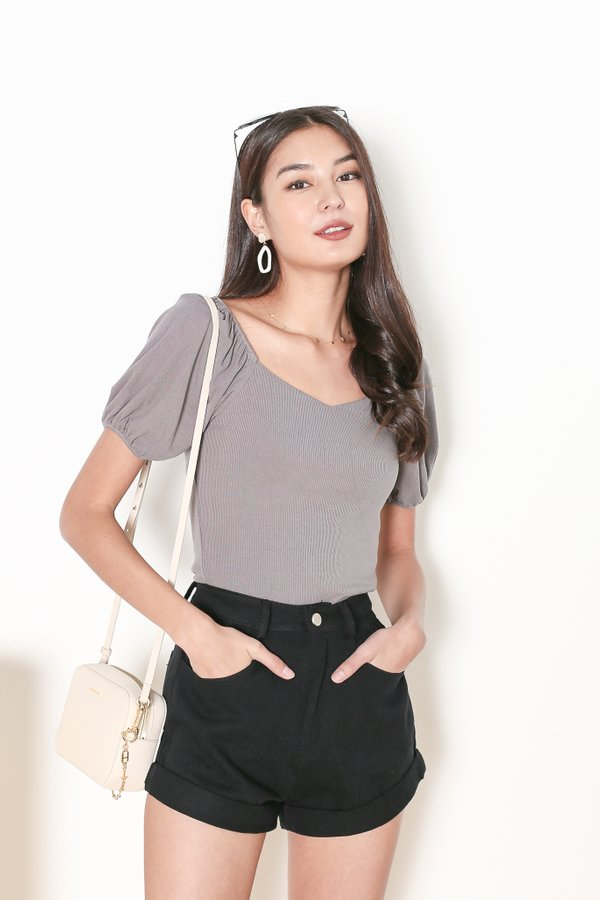 *TPZ* CRUSH SWEETHEART BASIC TOP IN SPACE GREY