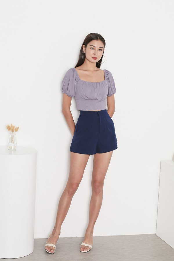 *TPZ* WISELLE V2 RIBBED BASIC TOP IN LILAC GREY