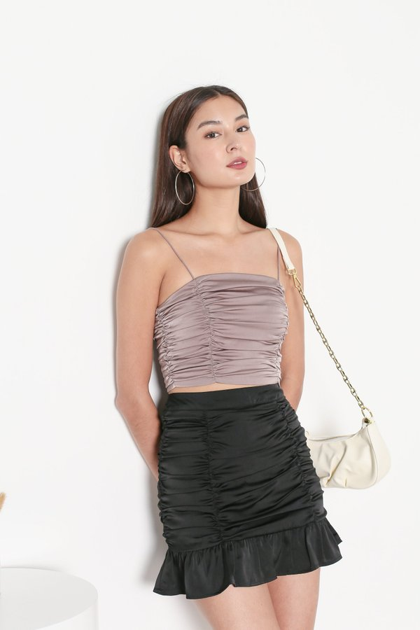 *TPZ* FATE SATIN RUCHED TOP IN DUSTY MAUVE