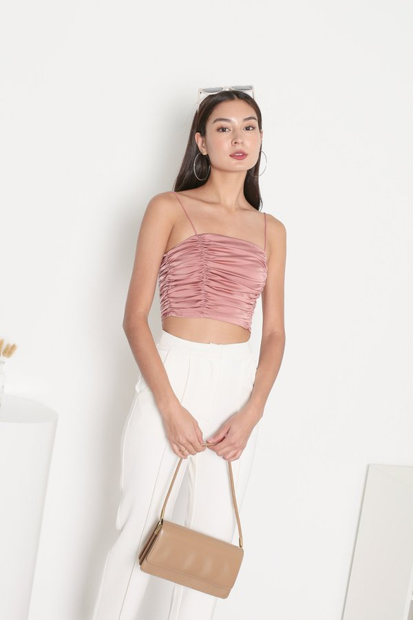 *TPZ* FATE SATIN RUCHED TOP IN CORAL ROSE