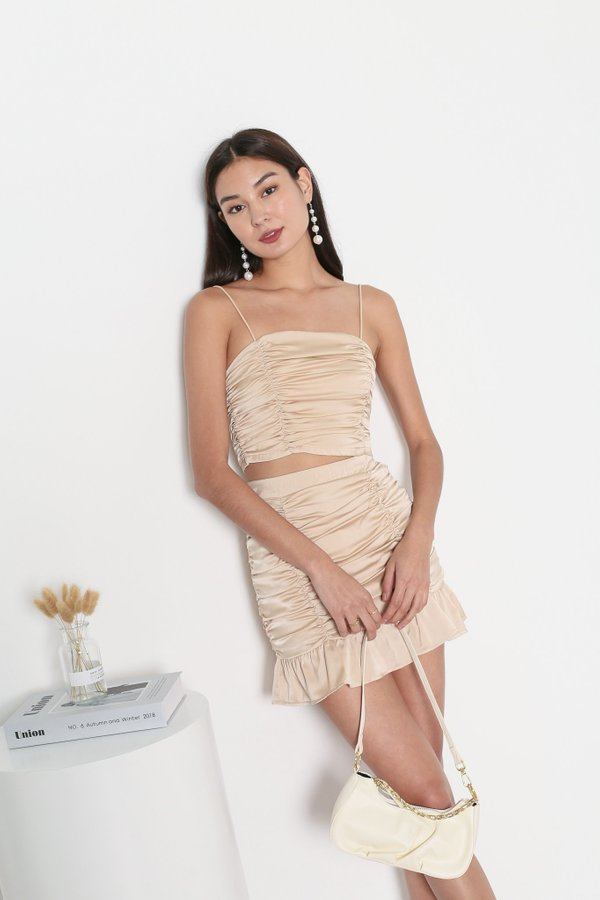 *TPZ* FATE SATIN RUCHED TOP IN CHAMPAGNE