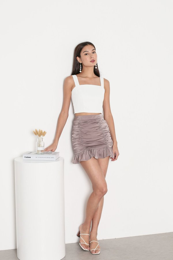 *TPZ* DESTINY SATIN RUCHED SKORTS IN DUSTY MAUVE