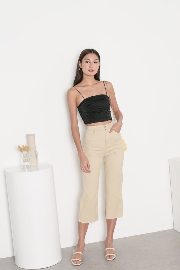 *TPZ* FATE SATIN RUCHED TOP IN BLACK