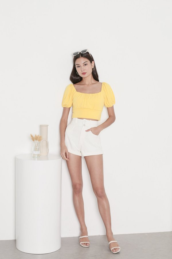 *TPZ* WISELLE V2 RIBBED BASIC TOP IN BUTTERCUP YELLOW