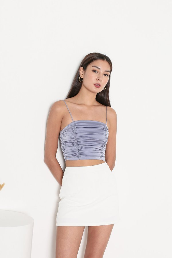 *TPZ* FATE SATIN RUCHED TOP IN NOVEL LILAC