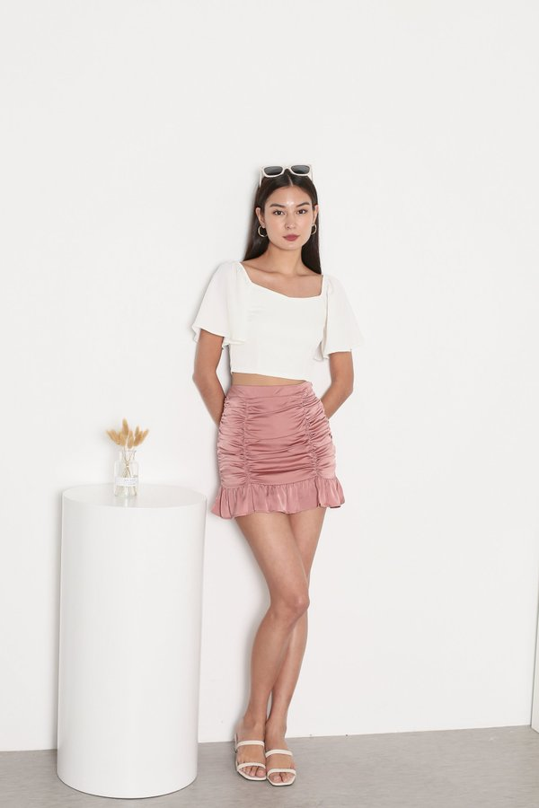 *TPZ* DESTINY SATIN RUCHED SKORTS IN CORAL PINK