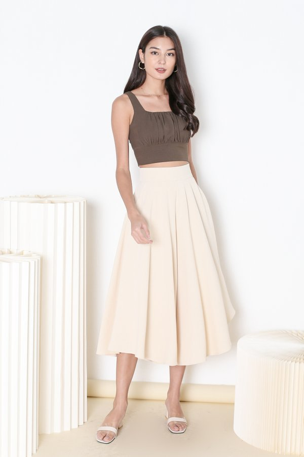 *TPZ* GISELLE RUCHED TOP IN CEDAR OLIVE