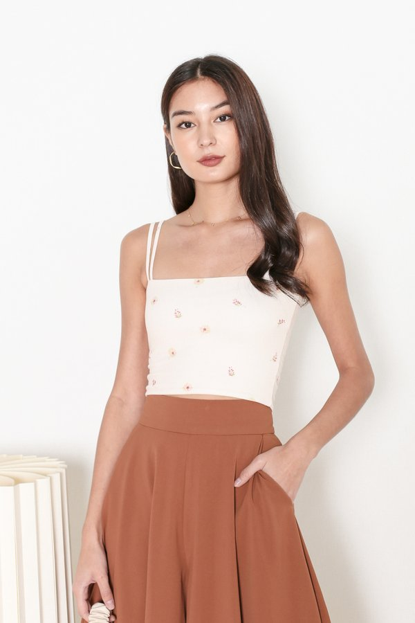*TPZ* ZAELYN 2 WAY STRAP TOP IN PEACH FLORAL