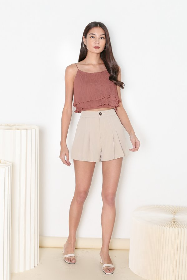 *TPZ* PLEATS PLEASE TOP IN BAKED TERRACOTTA *WITH SCRUNCHIE*