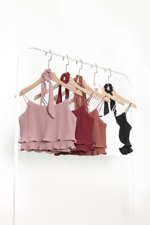 *TPZ* PLEATS PLEASE TOP IN BURGUNDY *WITH SCRUNCHIE*