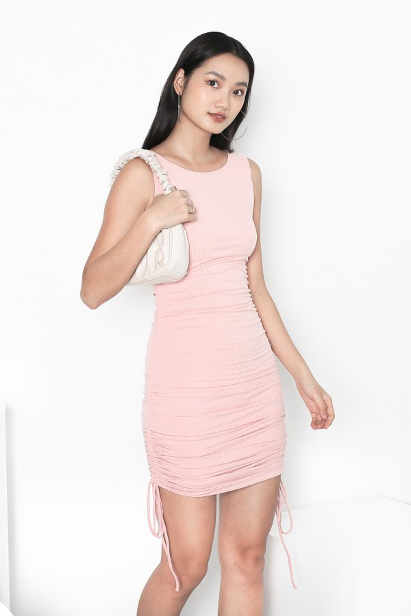 *TPZ* HIGH NOON RUCHED DRESS IN BABY PINK