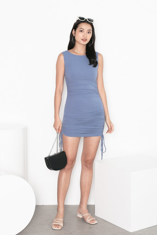 *TPZ* HIGH NOON RUCHED DRESS IN STALE BLUE