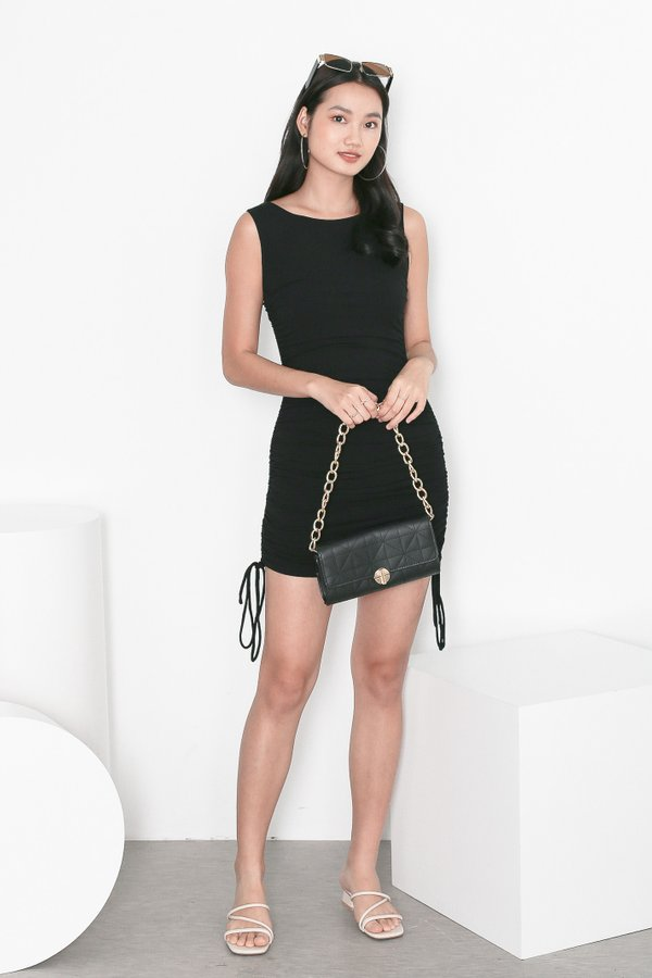 *TPZ* HIGH NOON RUCHED DRESS IN BLACK