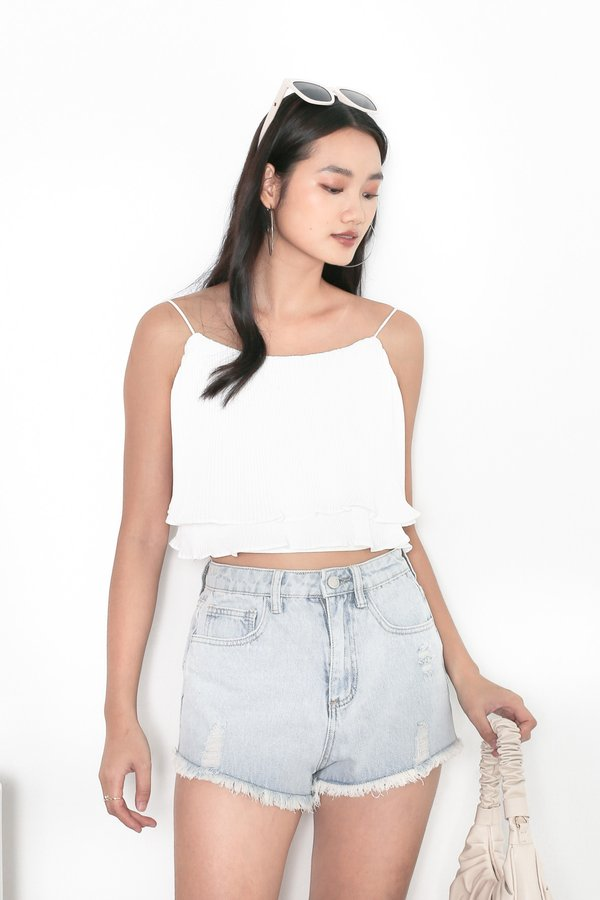 *TPZ* MADE FOR YOU RIPPED DENIM SHORTS IN LIGHT WASH